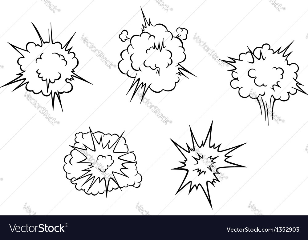 Cartoon clouds of explosion vector | Price: 1 Credit (USD $1)