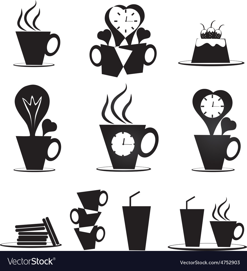Coffee break icons set vector | Price: 1 Credit (USD $1)