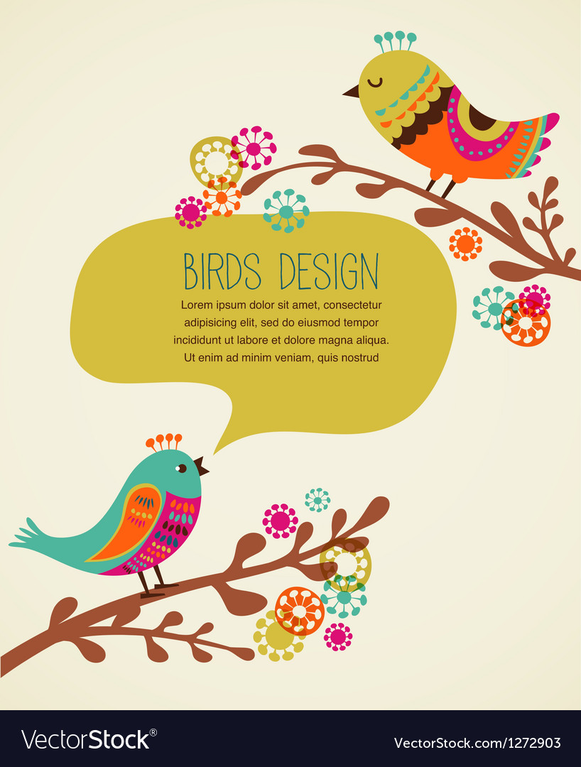 Colorful background with cute decorative birds vector | Price: 1 Credit (USD $1)