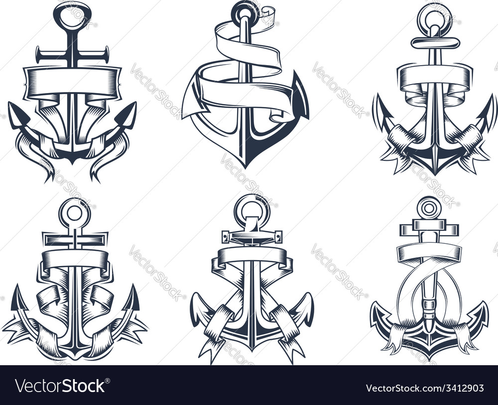 Marine themed ships anchor icons with ribbons vector | Price: 1 Credit (USD $1)