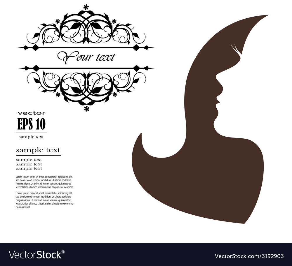 Silhouette of a girl with long hair and pattern vector | Price: 1 Credit (USD $1)