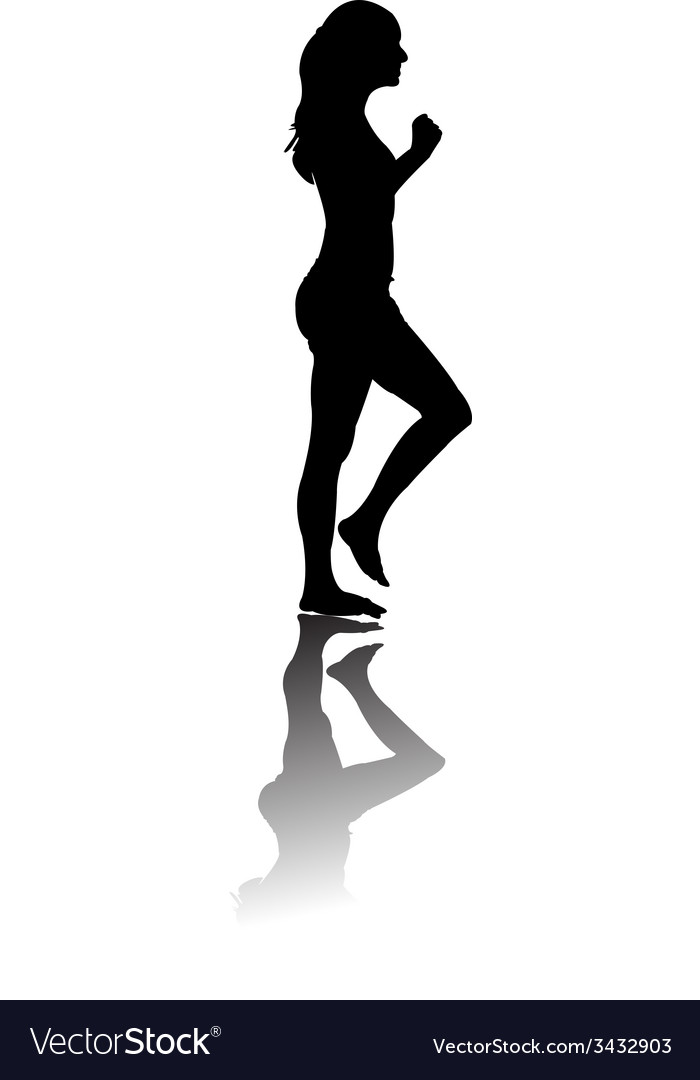 Silhouette of woman running black vector | Price: 1 Credit (USD $1)