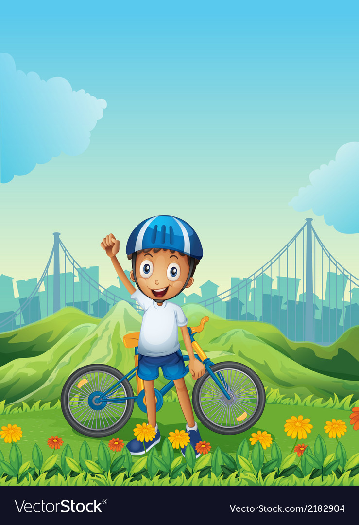 A boy and his bike standing across the tall vector | Price: 3 Credit (USD $3)