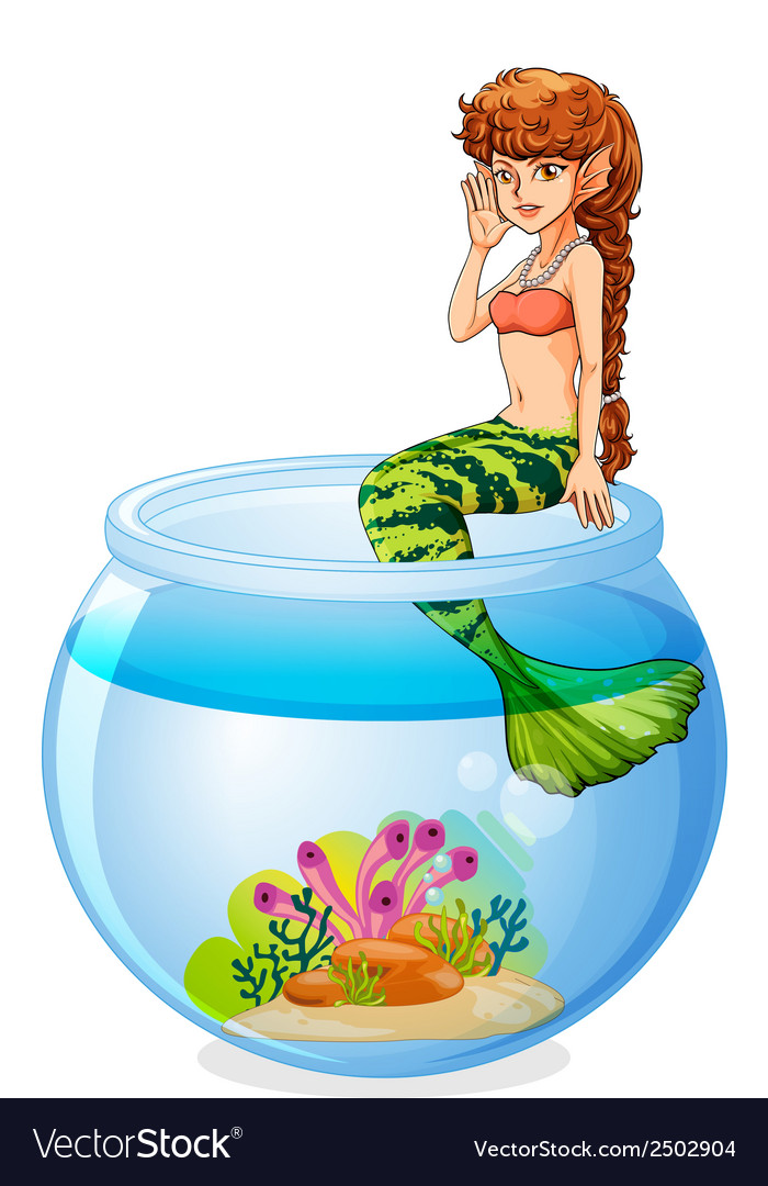 A mermaid sitting above the aquarium vector | Price: 1 Credit (USD $1)