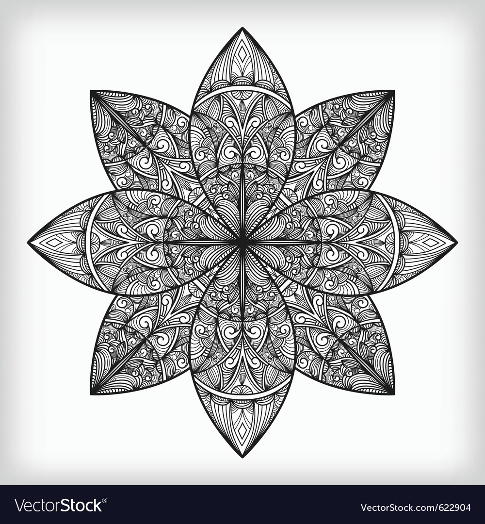 Abstract highly detailed monochrome flower vector | Price: 1 Credit (USD $1)