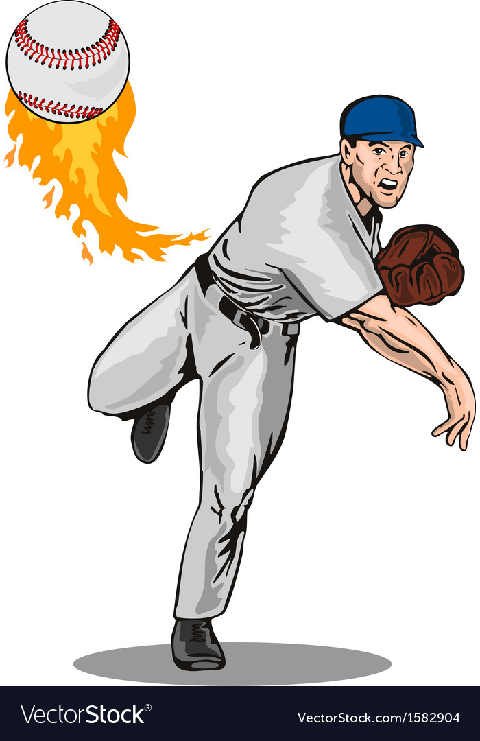 American baseball player pitcher vector | Price: 1 Credit (USD $1)