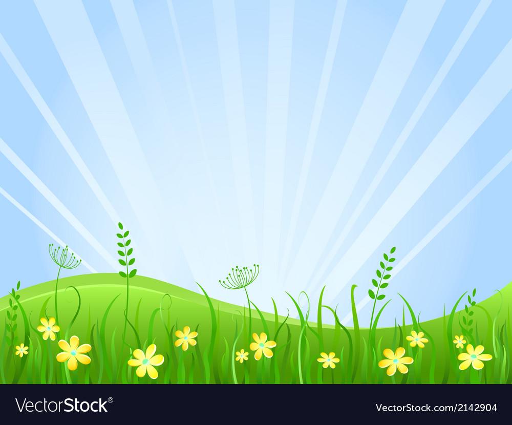 Beautiful green meadow scene vector | Price: 1 Credit (USD $1)