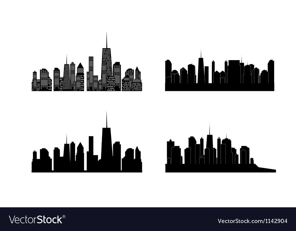 Cities silhouette set eps 10 vector | Price: 1 Credit (USD $1)