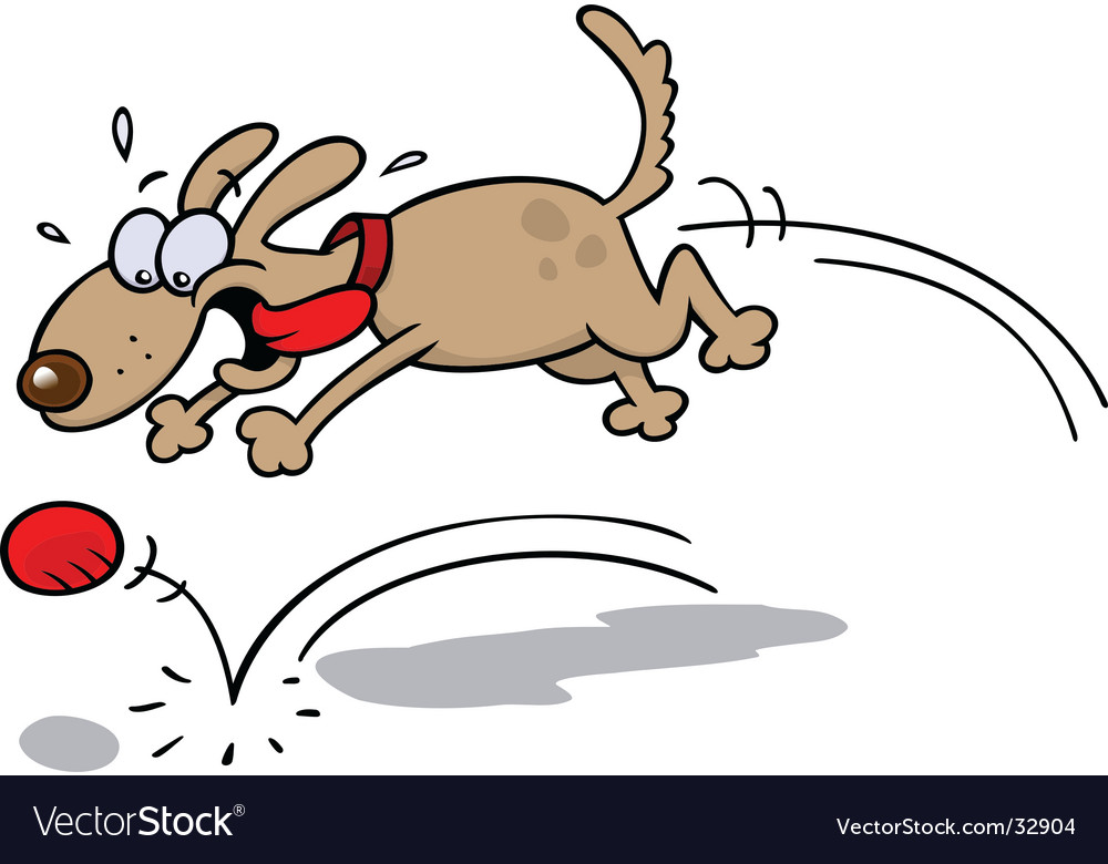 Dog chasing a red ball vector | Price: 1 Credit (USD $1)
