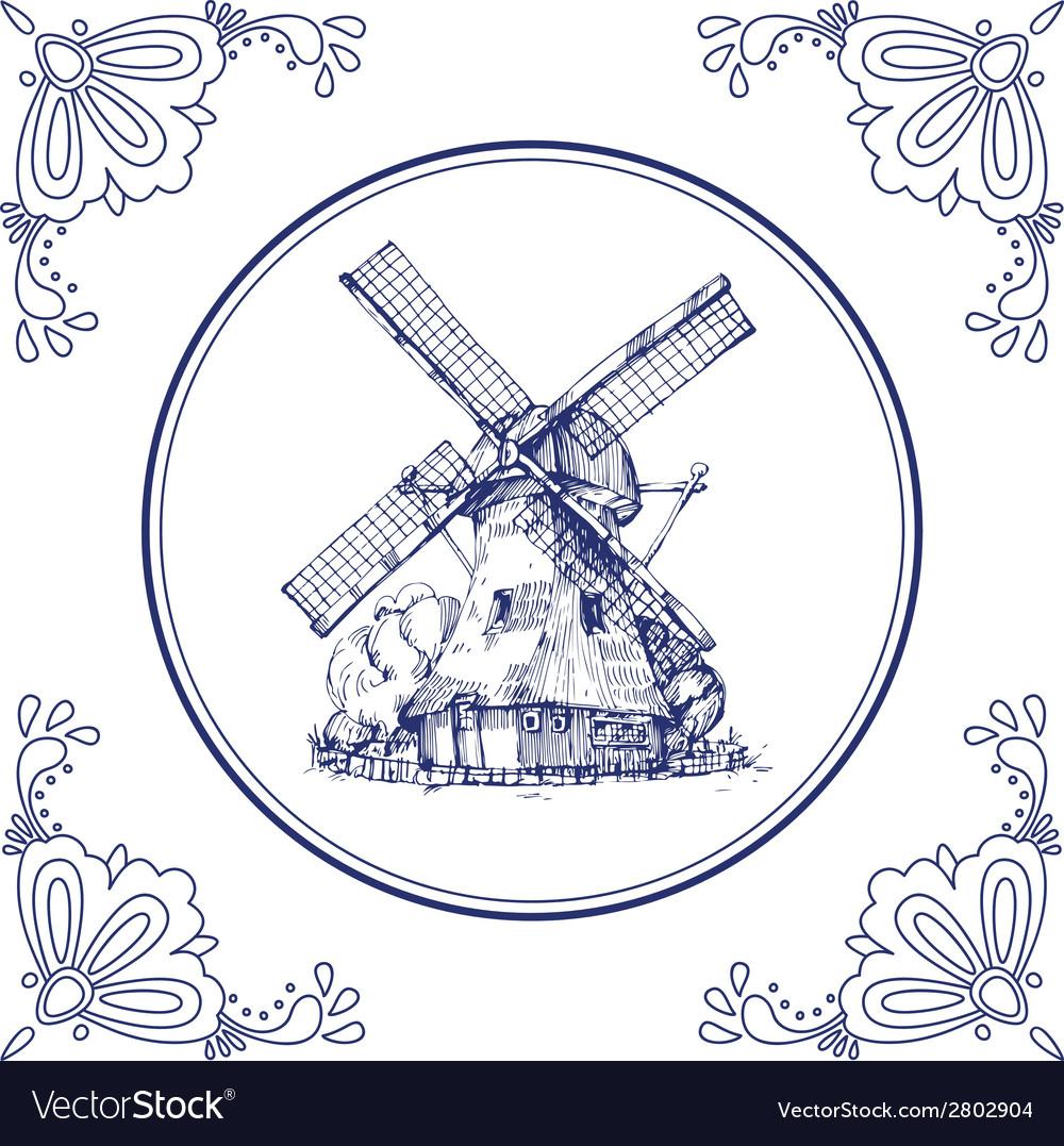 Dutch mill vector | Price: 1 Credit (USD $1)