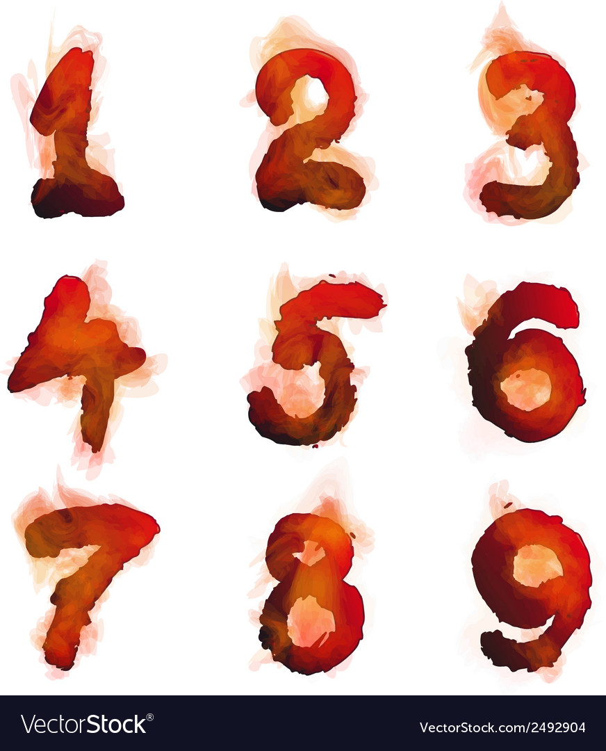 English burning numbers vector | Price: 1 Credit (USD $1)
