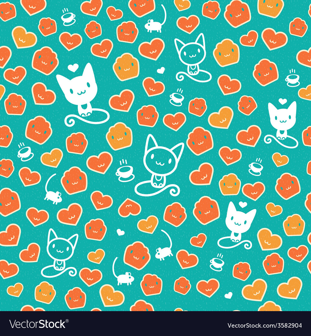 Hipster cat seamless on green background vector | Price: 1 Credit (USD $1)