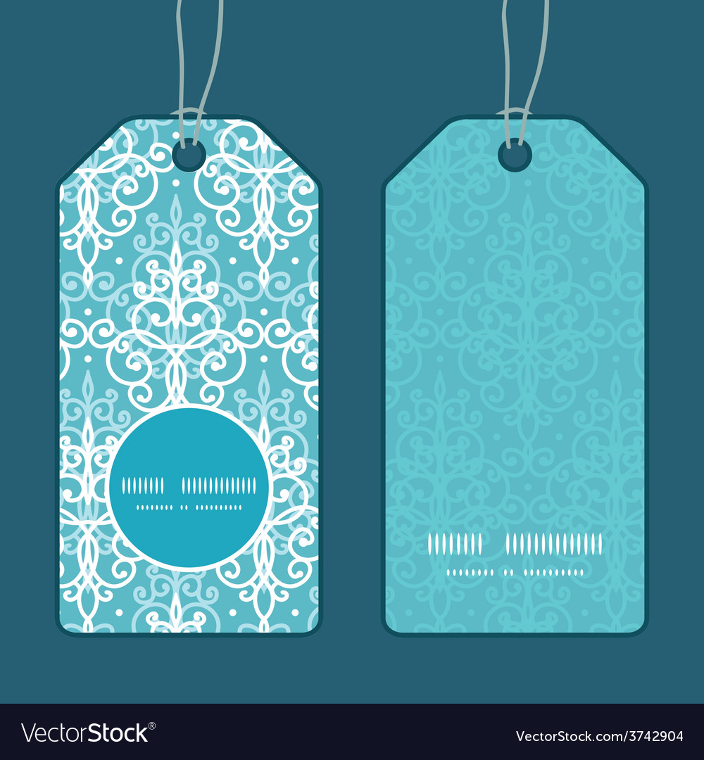 Light blue swirls damask vertical round vector | Price: 1 Credit (USD $1)