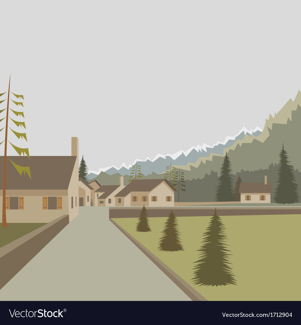Mountain village landscape vector | Price: 3 Credit (USD $3)