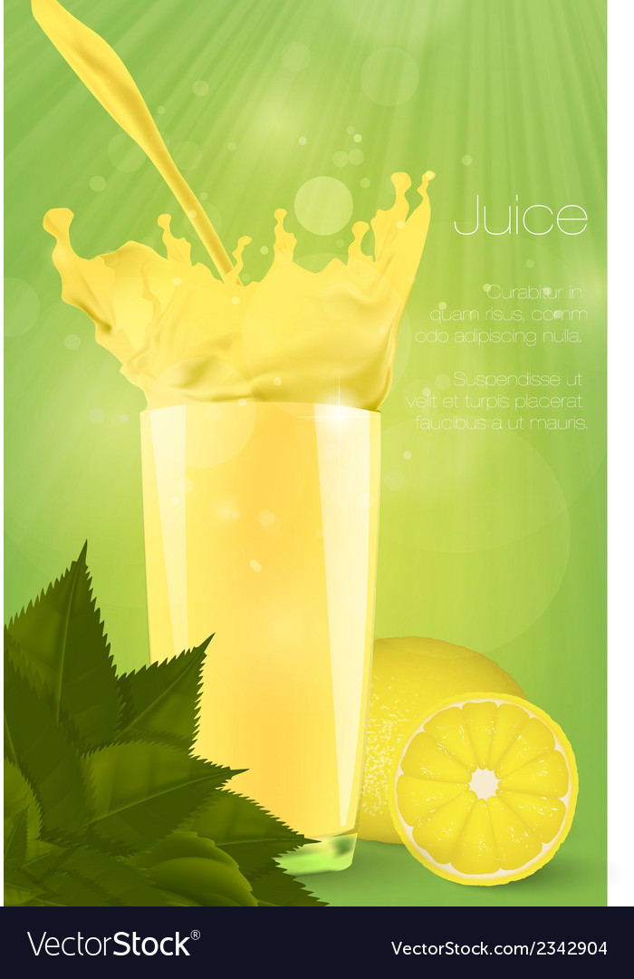 Pouring juice into a glass on a green background vector | Price: 1 Credit (USD $1)