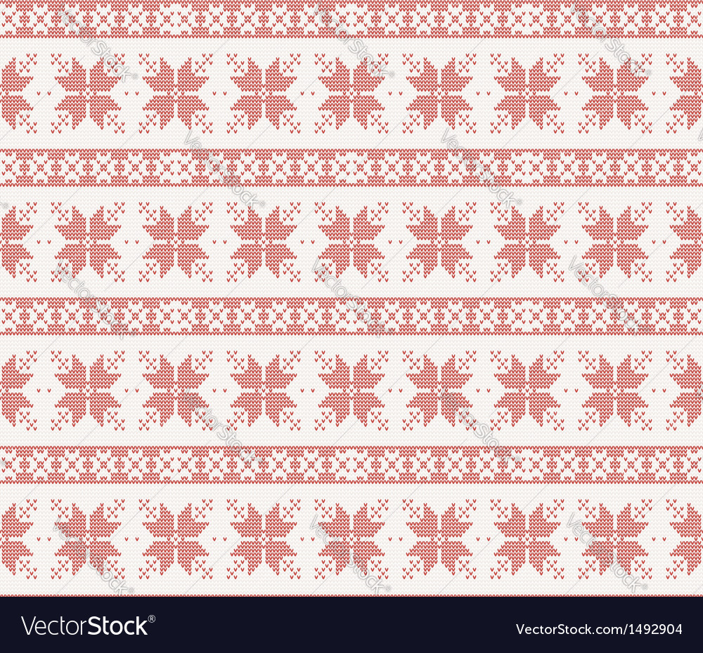 Seamless knitted pattern with christmas ornament vector | Price: 1 Credit (USD $1)