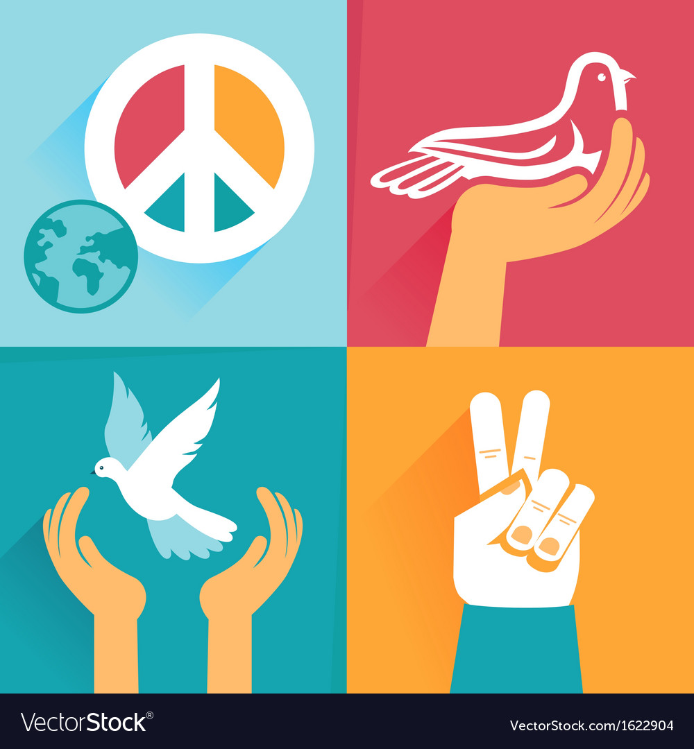 Set of peace signs and symbols vector | Price: 1 Credit (USD $1)