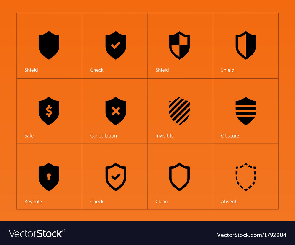 Shield icons on orange background vector | Price: 1 Credit (USD $1)