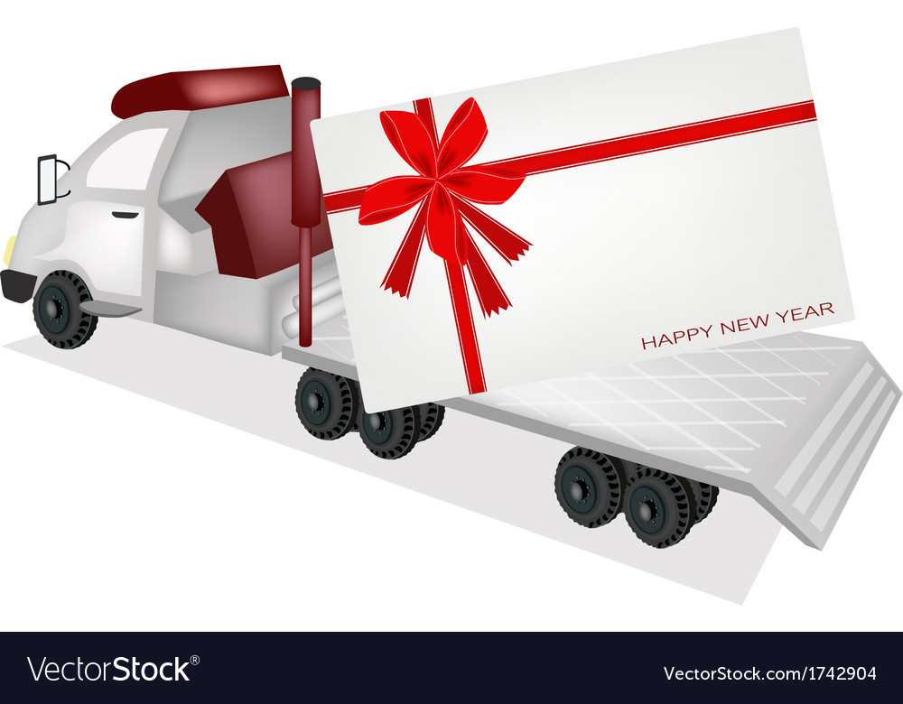 Tractor trailer flatbed sending a new year card vector | Price: 1 Credit (USD $1)
