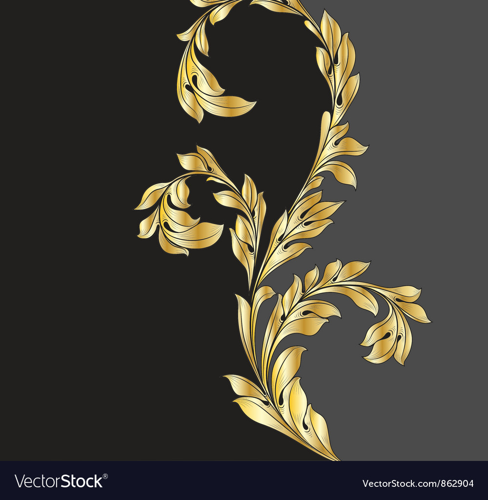 Vintage gold floral background vector | Price: 1 Credit (USD $1)