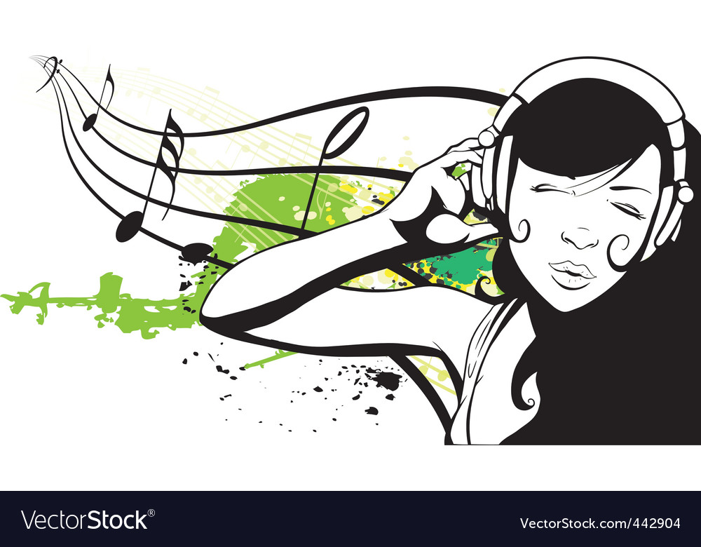Young woman with headphones vector | Price: 1 Credit (USD $1)