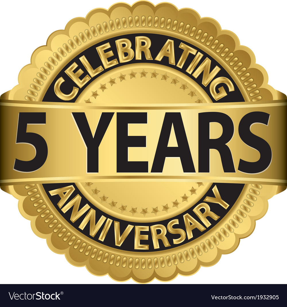 Celebrating 5 years anniversary golden label with vector | Price: 1 Credit (USD $1)