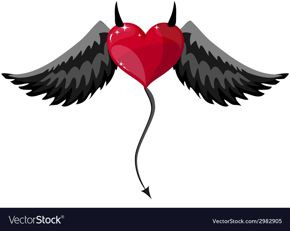 Devilish heart with horns and wings vector | Price: 1 Credit (USD $1)