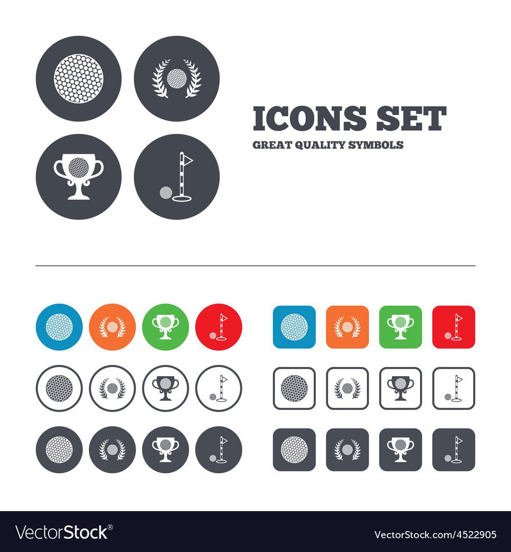 Golf ball icons laurel wreath award symbol vector | Price: 1 Credit (USD $1)