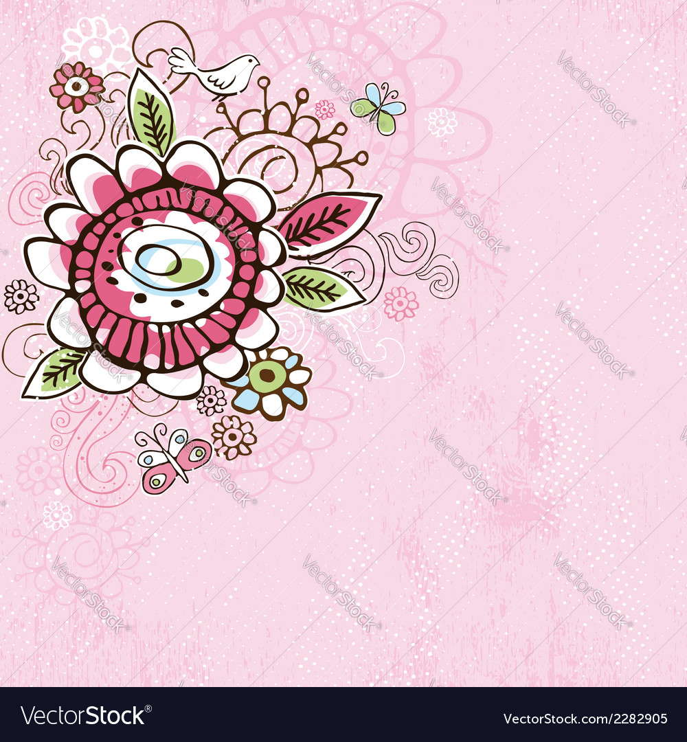 Hand draw flowers on pink grunge background vector | Price: 1 Credit (USD $1)