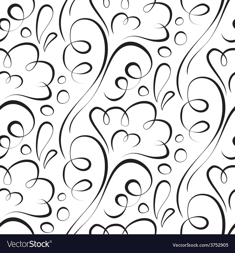 Seamless background backdrop black floral pattern vector | Price: 1 Credit (USD $1)