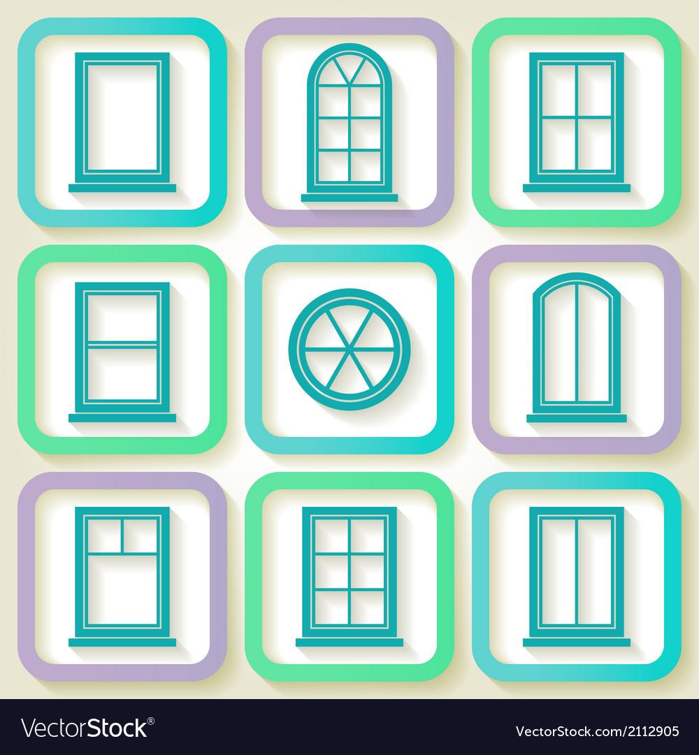 Set of 9 retro icons of windows vector | Price: 1 Credit (USD $1)