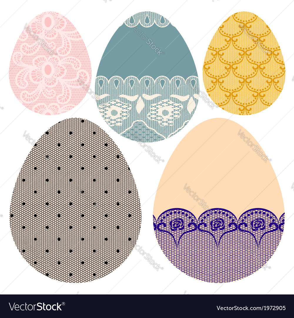 Set of lacy decorative easter eggs vector | Price: 1 Credit (USD $1)