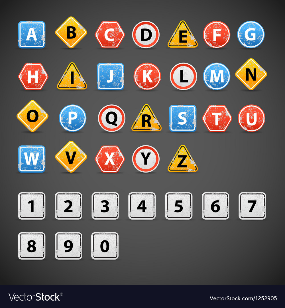 Set of letters of road signs vector | Price: 1 Credit (USD $1)