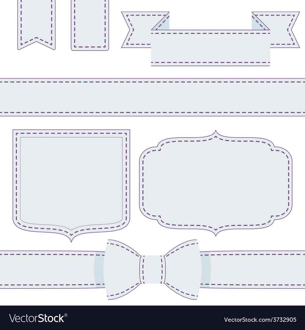Set of ribbons with seams vector | Price: 1 Credit (USD $1)