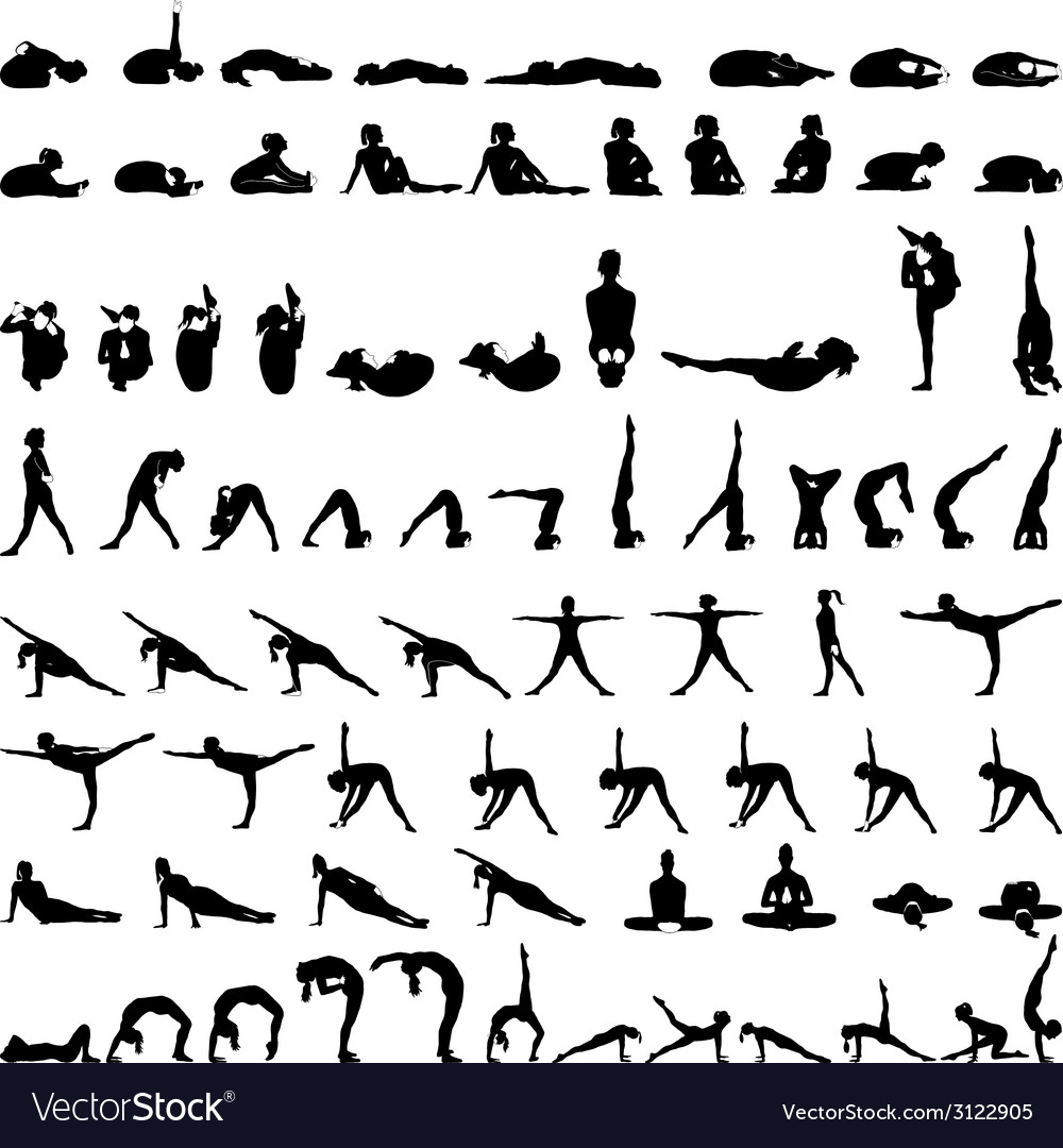 Various yoga postures silhouettes - vector | Price: 1 Credit (USD $1)
