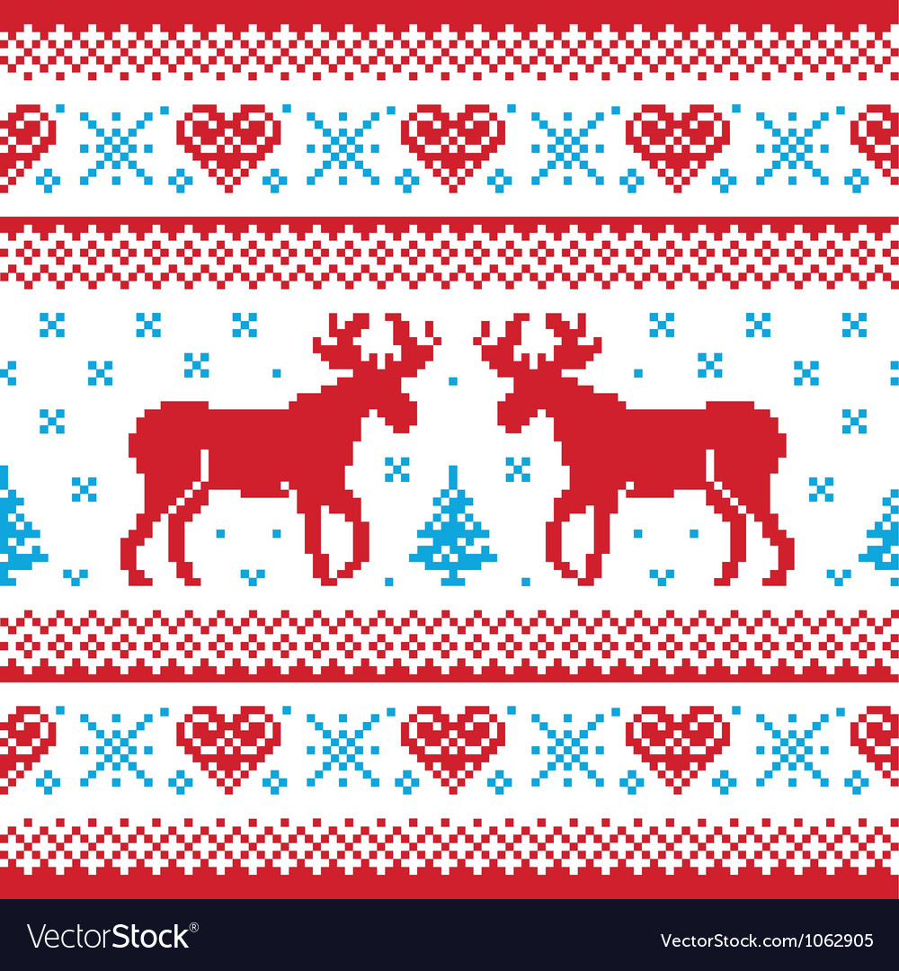 Winter knitted pattern card scandynavian style vector | Price: 1 Credit (USD $1)