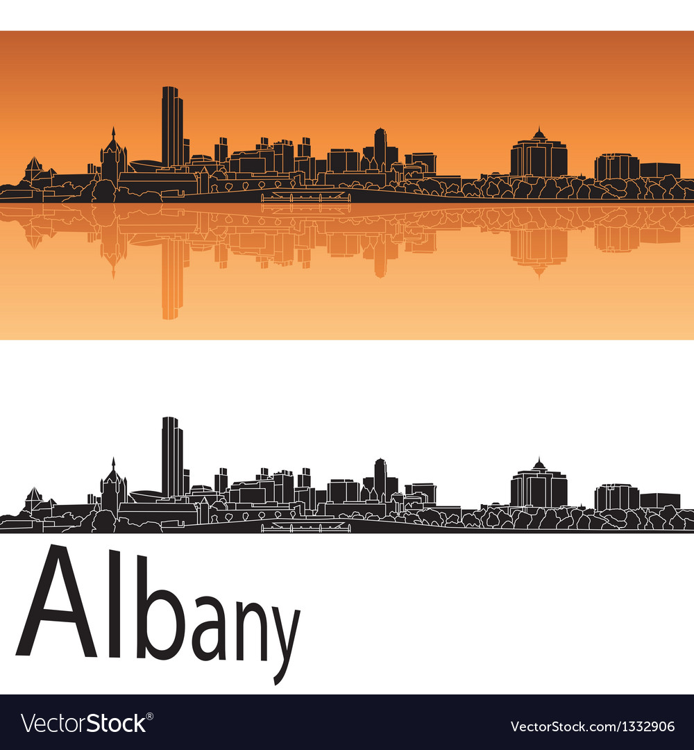 Albany skyline in orange background vector | Price: 1 Credit (USD $1)