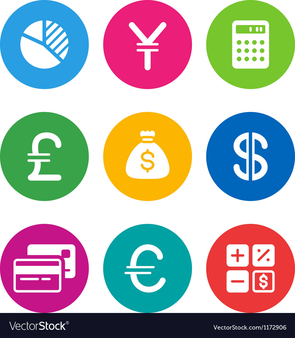 Color finance icons vector | Price: 1 Credit (USD $1)