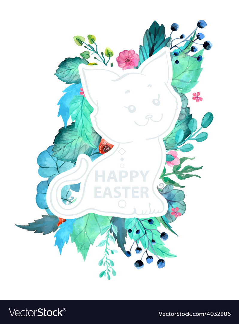 Easter watercolor natural with kitten sticker vector | Price: 1 Credit (USD $1)