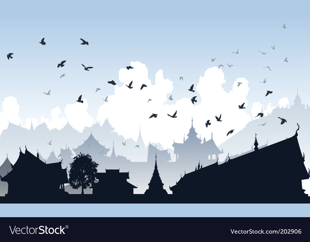 Eastern bird city vector | Price: 1 Credit (USD $1)