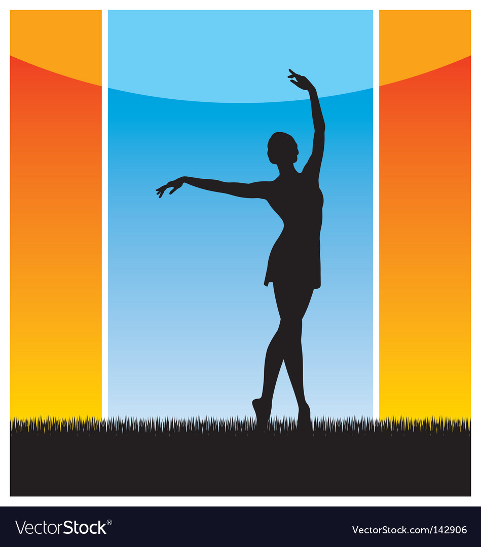 Girl dancing silhouette vector | Price: 1 Credit (USD $1)