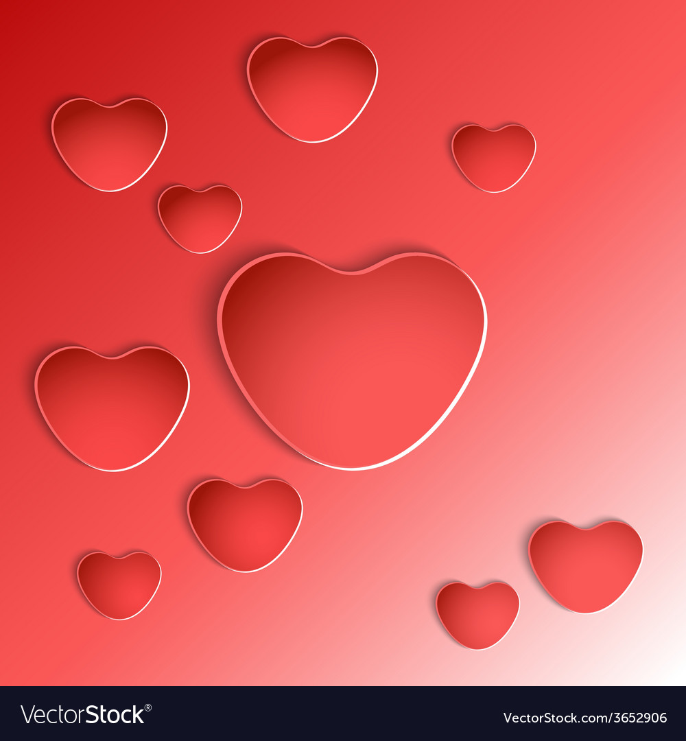 Heart shapes on red background vector | Price: 1 Credit (USD $1)