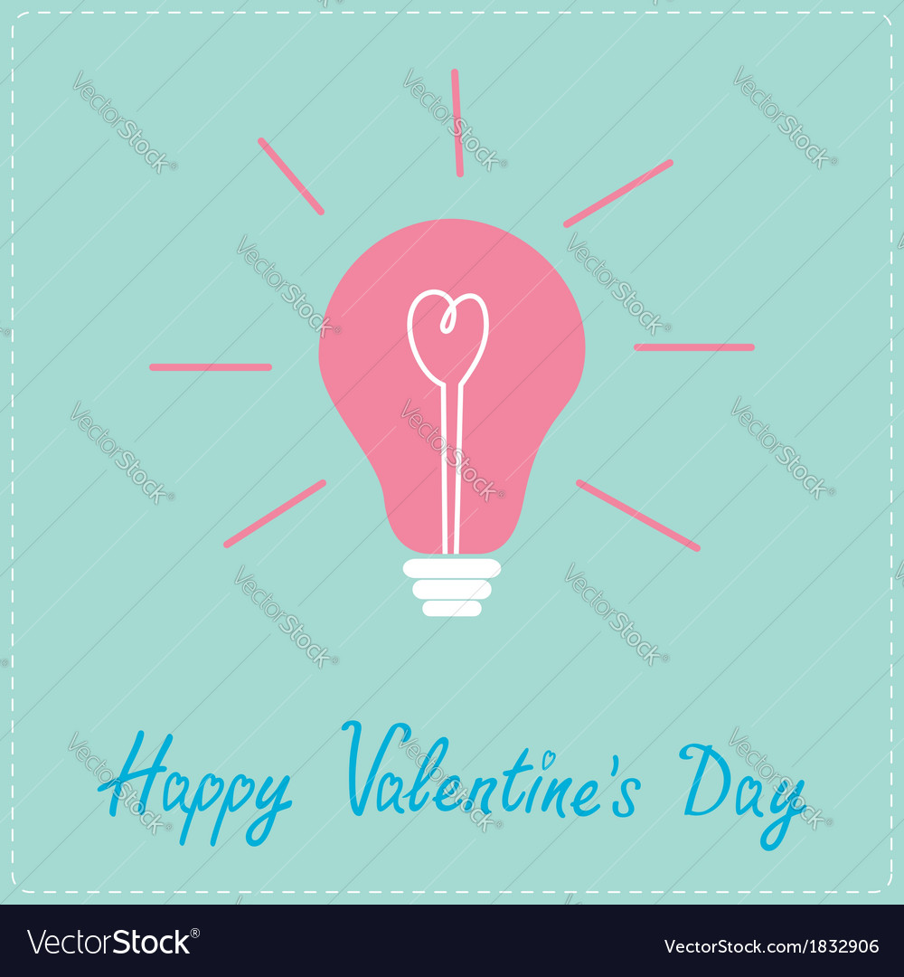 Light bulb with heart inside happy valentines day vector | Price: 1 Credit (USD $1)