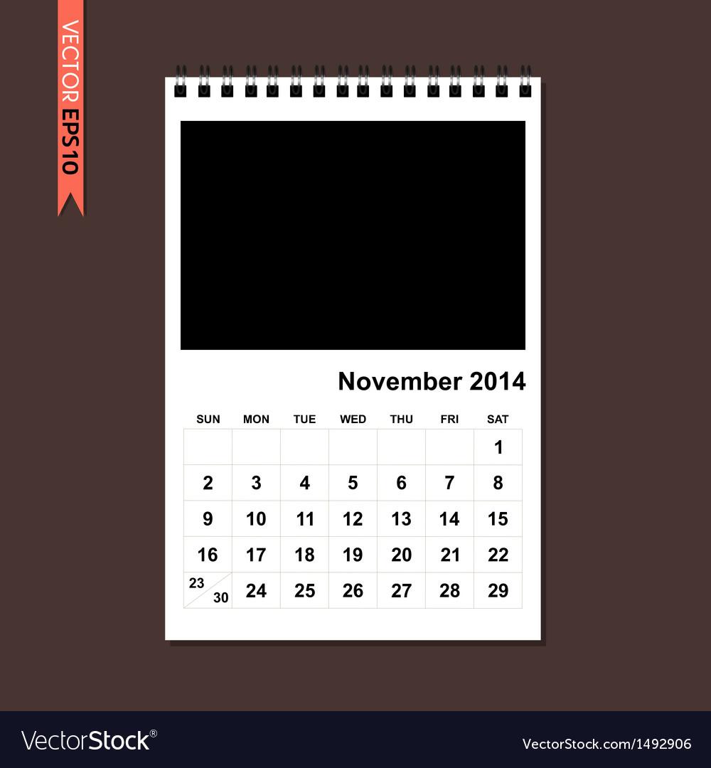 November 2014 calendar vector | Price: 1 Credit (USD $1)