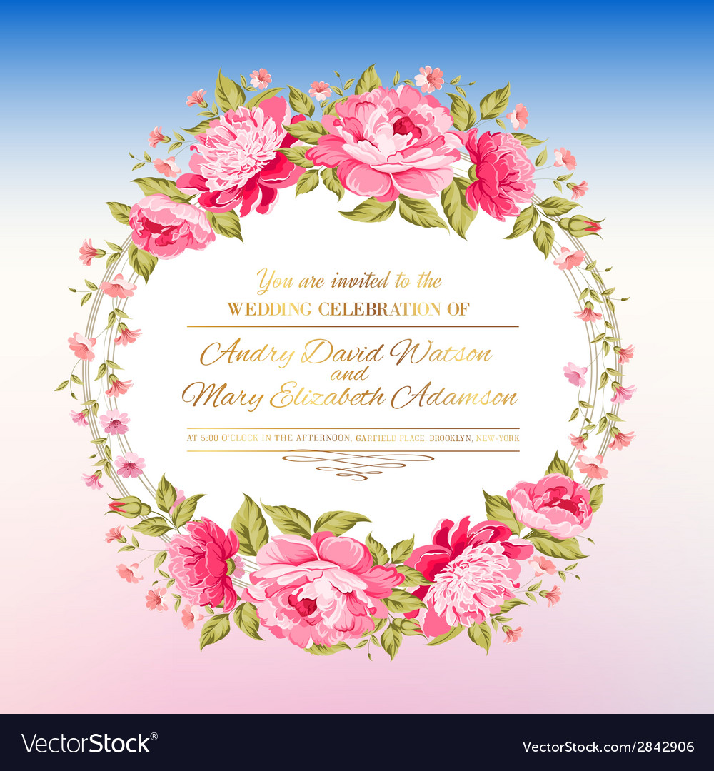 Peony garland vector | Price: 1 Credit (USD $1)