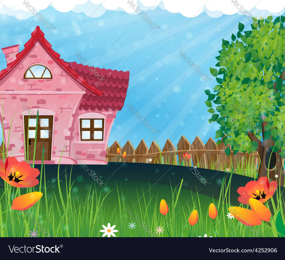 Rural house in the meadow vector | Price: 3 Credit (USD $3)