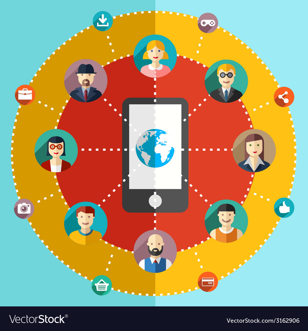 Social network flat with avatars earth mobile vector | Price: 1 Credit (USD $1)