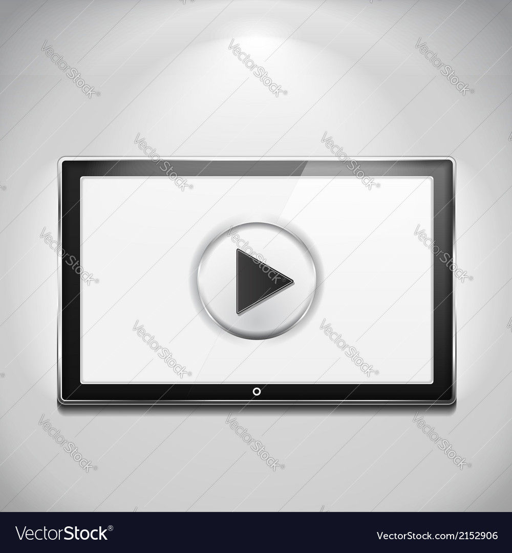 Tv with play button vector | Price: 1 Credit (USD $1)
