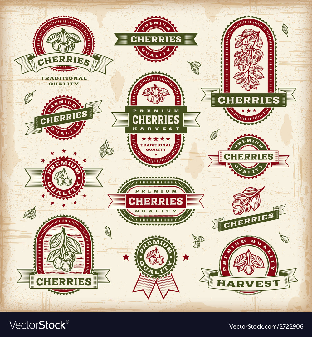 Vintage cherry labels set vector | Price: 1 Credit (USD $1)