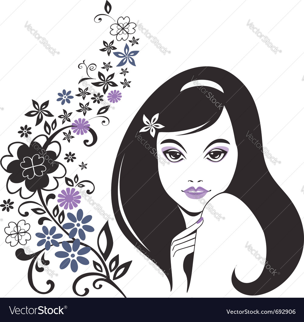 Young girl with flowers vector | Price:  Credit (USD $)